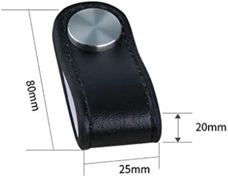 LQ Weicher Ledergriff für die Tür, optionaler schwarz-weier Ledergriff, optionaler Antikollisionsgriff für Kinderzimmer in Mehreren Gren (Farbe   schwarz-medium-, Größe   6pcs)