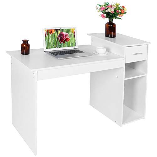 Ejoyous Mesa de Escritorio para Ordenador, Mesa de Trabajo de Madera Mesa de PC Mesa de Oficina con 1 cajón y 2 Muebles Bajos para el Estudio de Oficina Blanco Mate 112 x 50 x 82,2 cm 100 kg