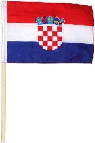 Fahne Flagge Kroatien 30 x 45 cm mit Stab