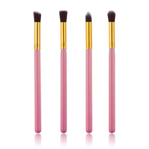 Beaupretty 4Pcs Pinceau de Maquillage pour Les Yeux Mis Fard à Paupières Mélange de Sourcils Outil de Maquillage (Rose + Or)