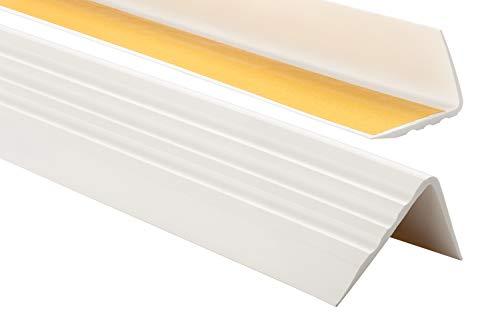Nez de marche profil d'angle PVC autoadhésif 50x40mm antidérapant, descalier-protection, bande de bordure, 110cm, Blanc