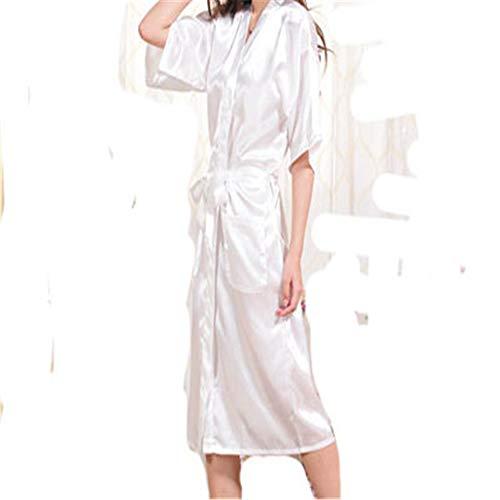 Coronación satinado vestido simulación seda pijamas damas verano color sólido seda larga albornoz albornoz cardigan blanco XXL