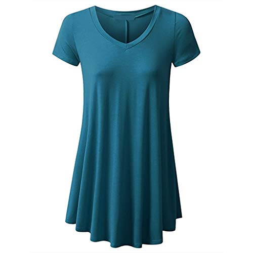 Damen Sommer Tops,KUDICO Basic Einfarbig V-Ausschnitt Kurzarm Tunika Oberteile,Casual Flowy Lose Bluse T-Shirts (Blau,XXL)