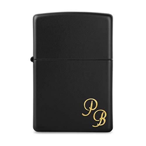 Benzinfeuerzeug Black matte Messing individuelle Gravur von PauleBlack windfestes Sturmfeuerzeug Original - Initialen Klein
