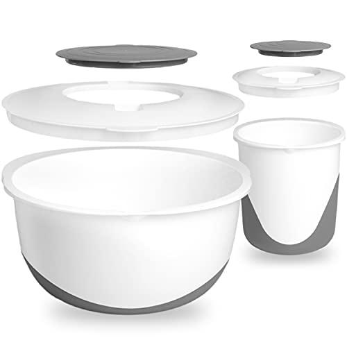 Hausfelder Rührschüssel Set 5,8 l + 1,7 l mit Spritzschutz Deckel und Antirutsch Boden, Rührschüsseln aus Kunststoff BPA-frei (Anthrazit, 6-teilig))