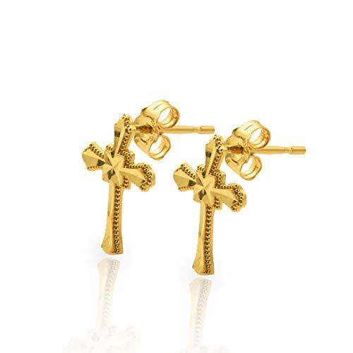 LoveBling 10k Yellow Gold Cross Stud Earrings (0.13' x 0.25')