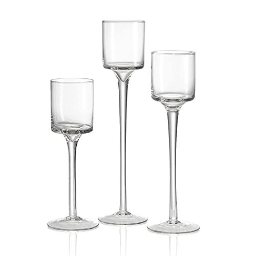 nother Hurricane Candleholders Glass Candle Holders Votive Long Stem Tealight Holder Tall High Tea Light Elegant Transparent Ideal Dining Wedding Party Home Decoration Gifts Sets of Different Sizes