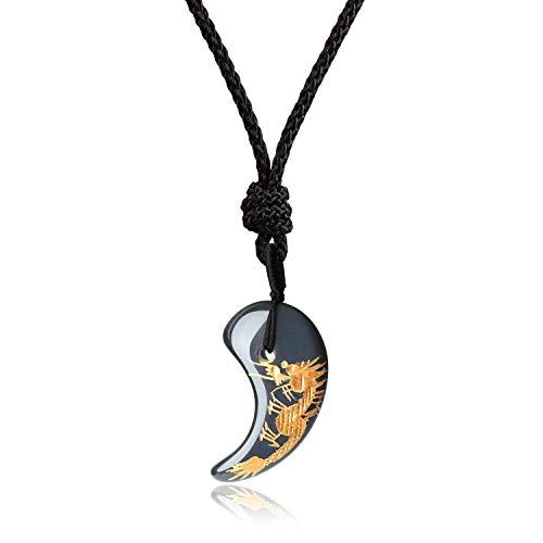 coai Geschenkideen Unisex Japanische Magatama Kommaförmige Horn Anhänger aus Obsidian Drache Symbol Amulett Glückskette