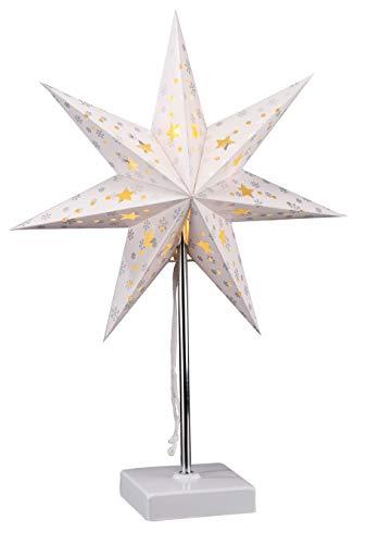 LED Weihnachtsstern Tischlampe - 47 x 35 cm - Batterie betrieben mit 8 warmweiße LED - Fenster Deko Stern Lampe Tischleuchte
