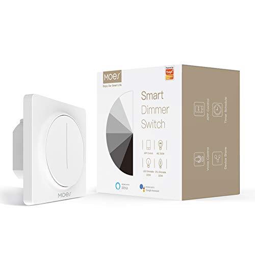 MOES WiFi Interruttore dimmer per luci Smart Touch, Touch Dimming Control Timer Luminosità Memoria, Tuya Smart Life APP Telecomando Funziona con Alexa Google Voice Assistants, Bianco