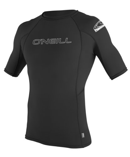 O'Neill Wetsuits Men's Basic Skins UPF 50+ Short Sleeve Rash Guard, Black, X-Large