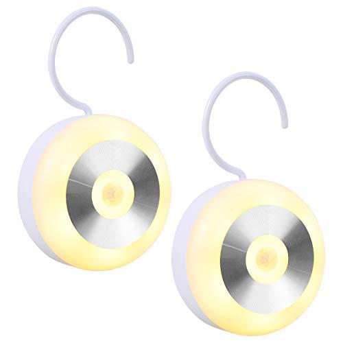 Luz Nocturna Infantil LED con sensor de movimiento, Luz recargable con un gancho y Almohadillas Adhesivas 3M, Lámpara de noche para Habitación Bebé, Dormitorio, Sala, Garaje, Baño, Pasillos, Cocina