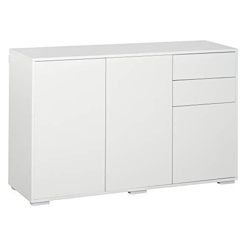 HOMCOM Sideboard Küchenschrank Mehrzweckschrank Kommode mit 2 Schubladen 3 Türen für Wohnzimmer Badezimmer, E1 Spanplatte, Weiß 117 x 36 x 74 cm