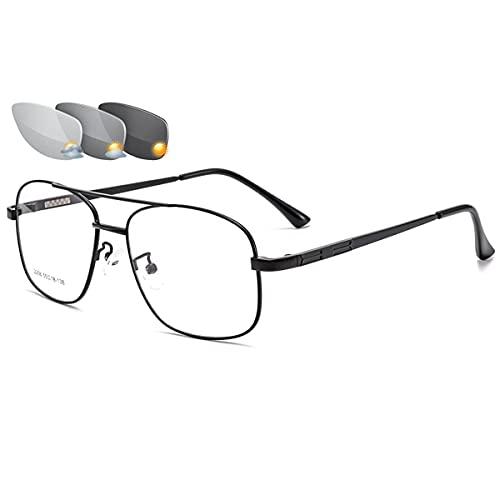 LGQ Gafas de Lectura fotocromáticas Unisex, progresivas, multifocales ópticas, para presbicia, Gafas con Montura de aleación Ligera, Lector de Sol,Negro,+2.00