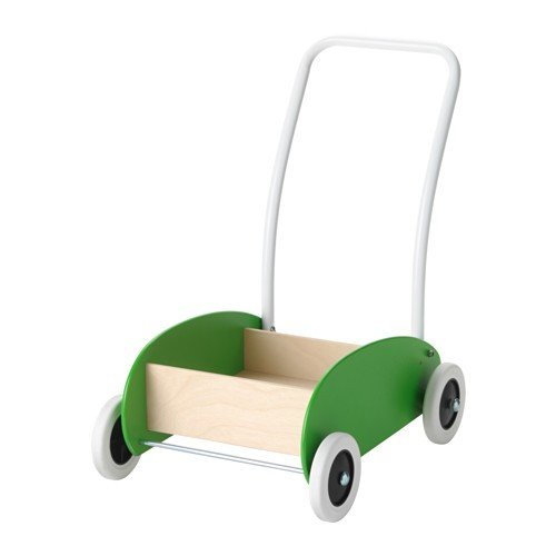 Ikea MULA Wagen zum Laufenlernen; in grün, aus Birkenholz