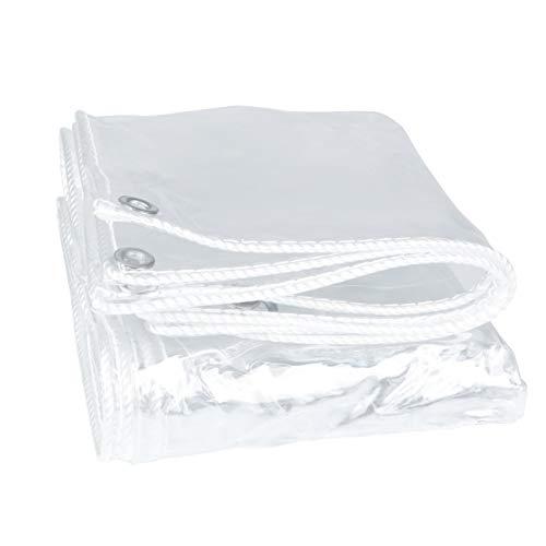 ZXXL Lona Alquitranada Lona Impermeable Transparente con Ojales, Espesar la Hoja de Lonas Transparentes de PVC para Jardín/Marquesina/Balcón/Techos, Protección a Prueba de Polvo y Rayos UV