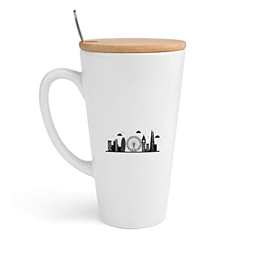 20 Ounces Large Coffee Mugs, Realistic London Cityscape Cone Porcelain Milk Mug for Men Women Birthday Gifts