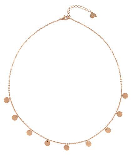 Happiness Boutique Damen Kette mit Mehreren Plättchen in Rosegold | Kette Runde Anhänger Geometrischer Schmuck