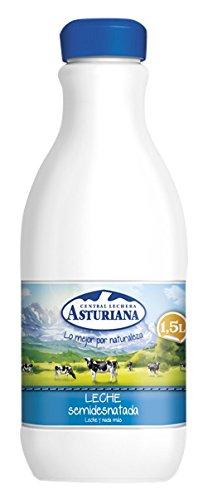 Central Lechera Asturiana - Leche UHT Semidesnatada - Botella 1,5 L - , Pack de 6