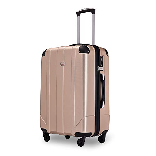 Flieks Hartschalen-Koffer Trolley Rollkoffer Reisekoffer Handgepäck mit TSA-Schloss und 4 Rollen (Champagner, XL)