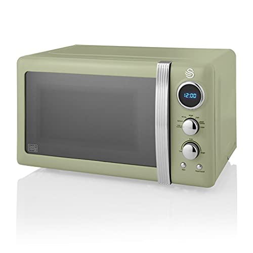 Swan Retro Digital Microwave Green, 20 L, 800 W, 6 Power Levels Including Defrost Setting, SM22030GN