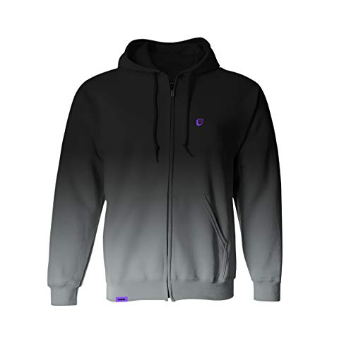 Twitch Dip Dye Zip Hoodie with Durable Drawstrings and Fashionable Design, Zip-Up Jacket for Online Live Video Streamers and Gamers – Black (X-Large)