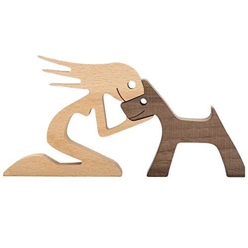 todaytop Holzschnitzerei-Ornamente für Familien und Welpen, Desktop-Holzschnitzerei-Dekoration für Männer/Frauen/Jungen/Mädchen Kreative Geschenke