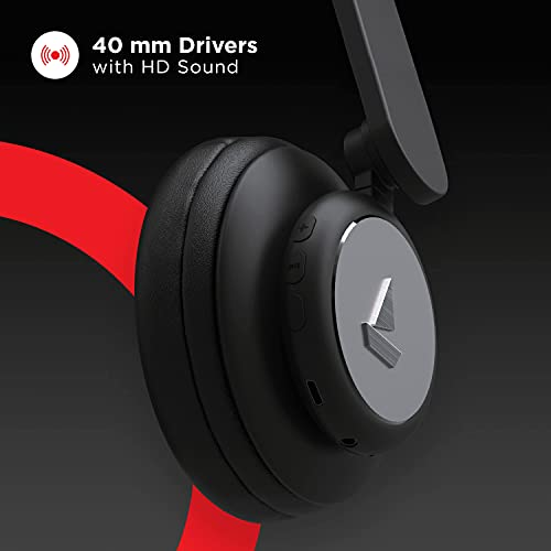 boAt Rockerz 450 On-Ear Headphones with 15 Hours Battery, 40mm Drivers, Padded Ear Cushions, Easy Access Controls and Voice Assistant(Luscious Black)