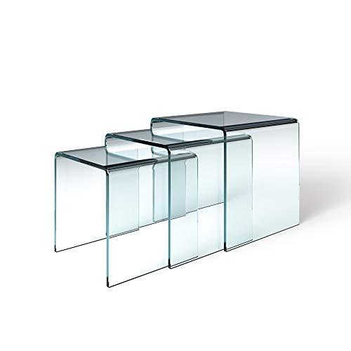 Arreditaly Set di 3 Tavolini Bassi Salotto Soggiorno Sala da Pranzo Tris di Cubo Quadrato in Vetro Temperato Curvato con Ripiano Design Moderno Elegante Luxury Z-31