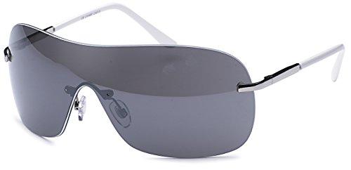rahmenlose Sonnenbrille mit Monoscheibe + Brillenbeutel - Sonnenbrille mit durchgehender Scheibe (weiss-smoke)