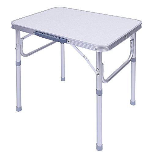 60 L x 45 B x 58 H cm campingbord vikbart endast 2,3 kg. Aluminium höjdjusterbart balkongbord fällbord trädgårdsbord campingbord resebord förvaringsbord silver/vit ? Tysk leverantör?