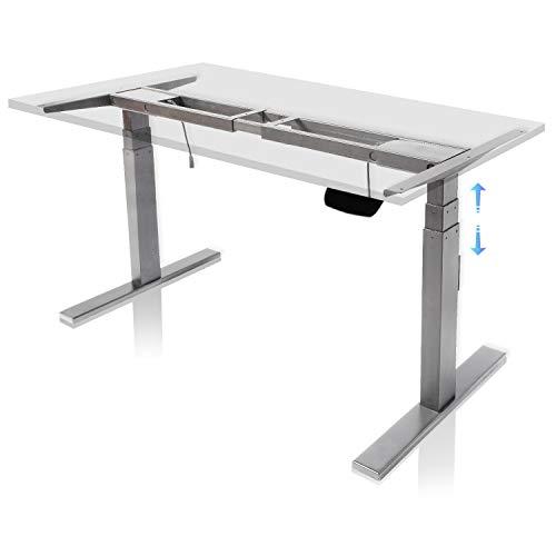 FLOWood Höhenverstellbarer Schreibtisch Elektrisch Tischgestell mit Anti-Kollisionssystem Stehzeit-Erinnerung-System 3-stufig Teleskopbein 60-125 cm höhenverstellbar Grau