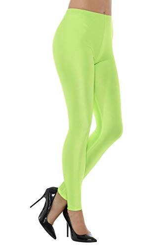 Smiffys Damen 80er Jahre Disko Elastan Leggings, Größe: 36-38, Neon Grün, 48111, Small