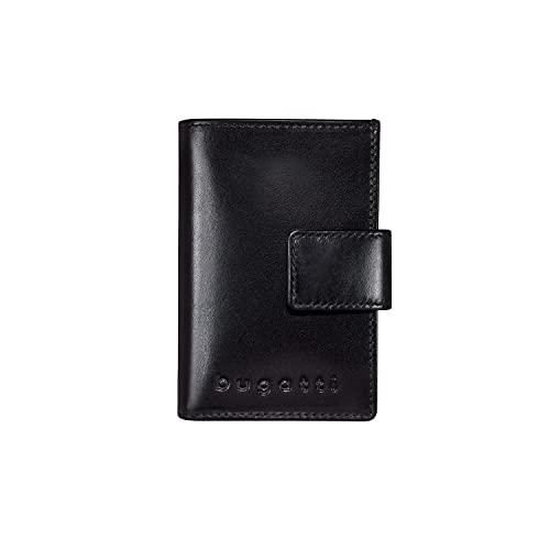 Bugatti Secure Deluxe Slim Wallet aus Leder – mit RFID Schutz – Kreditkartenetui mit Scheinfach - Kartenetui mit Münzfach für bis zu 6 Karten - Geldbeutel, Kreditkarten Etuis (Schwarz Rindleder)