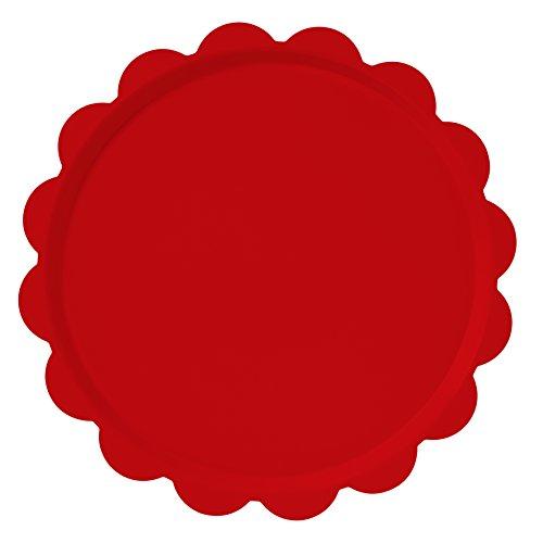 Platex 100037026D Plateau Déco Mat Dentelle Rouge Diamètre: 37 cm