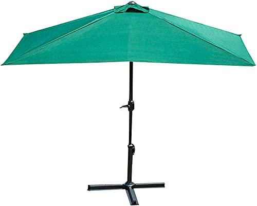 Parasol al Aire Libre, Paraguas de terraza Semi-Rectangular, Paraguas de Rayas con toldos de jardín con manivela y Base de Cruces, para jardín de Playa terraza (Color : Green)