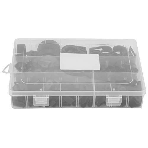 200pcs Kabel Befestigungen Befestigung Kabelschellen für Oberputzinstallation Clips Black kunststoff P-Klemmen - Nylon Sortierte Box Conduit Kit (schwarz, weiß) (Color : Black)