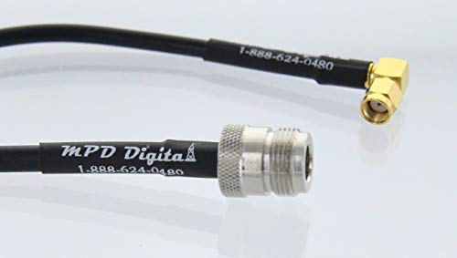 RF coaxial cable N female to RP-SMA male right angle RG58 10ft