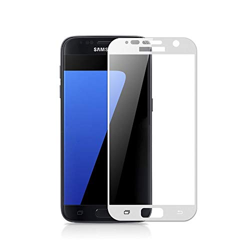 case & glass 3 Unidades DE Protectores DE Pantalla Premium 3D Cristal Vidrio Templado 9H para Samsung Galaxy S7 Blanco Cobertura Completa