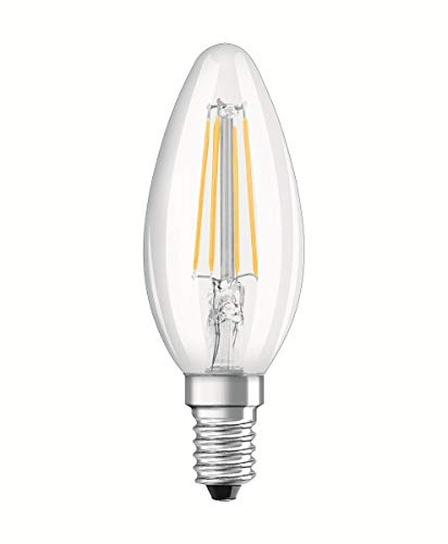 OSRAM LED BASE CLASSIC B / LED lamp, classic mini candle shape, in filament style, with screw base: E14, 4 W, 220…240 V, 40 W replacement, clear, 2700 K, 2pack
