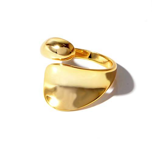 [NARU] シルバー925 ドロップ リング 【サイズ調整可能】 指輪 メンズ レディース フリーサイズ シンプル おしゃれ かわいい ペア おそろい カップル 人気 ブランド 18金メッキ 金 ゴールド
