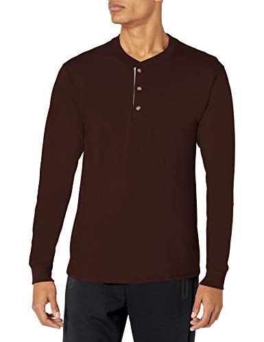 Hanes Men's Long-Sleeve Beefy Henley T-Shirt - X-Large - Dark Truffle