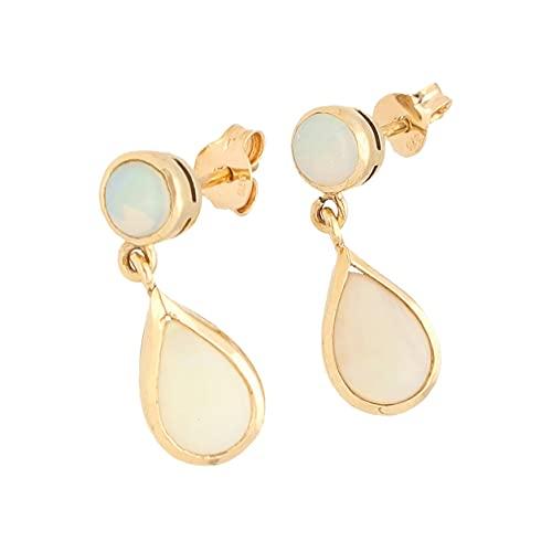 Pendientes colgantes de oro amarillo de 9 quilates para mujer (7 x 20 mm) | El regalo perfecto para una dama especial | Jollys Jewellers
