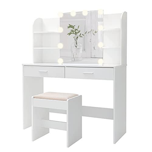 USIKEY Large Vanity Set with 10 Light Bulbs, Makeup Table...