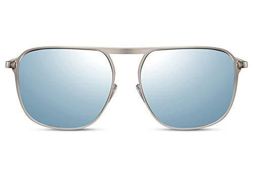 Cheapass Sonnenbrille Silber Metall Pilot flach offene Brücke mit Silber/Blau verspiegelten Linsen UV400 geschützt Männer Sonnenbrille