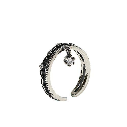 MF.CHAMA - Anillo para mujer, ajustable, corona de plata, negro, estilo vintage