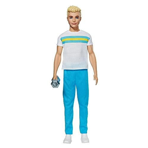 Barbie Ken 60 Aniversario Muñeco rubio con moda deportiva y accesorio de gimnasio, regalo para niñas y niños +3 años (Mattel GRB43)