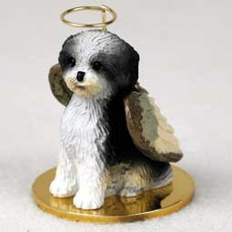 Shih Tzu Puppy Cut Angel Dog Ornament - Black & White by Conversation Concepts