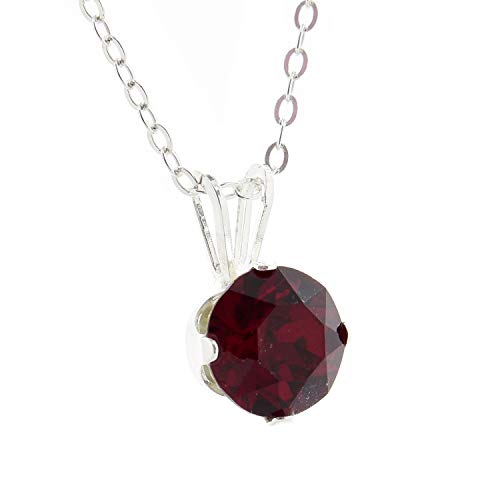 pewterhooter 925 Sterling Silver pendant for women made with Sparkling Siam Red crystal from Swarovski. Gift box. Made in the UK.