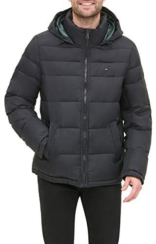 Tommy Hilfiger Men's Classic Hooded Puffer Jacket (Standard and Big & Tall), Black, Medium
